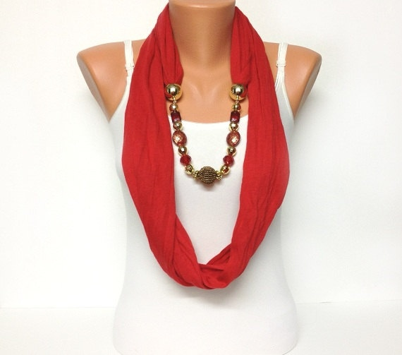 red jewelry scarf
