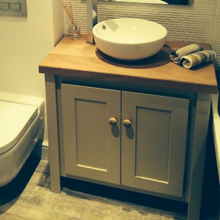 Farrow and Ball Oxford Stone Colour Vanity Unit with Solid Oak Oiled Top