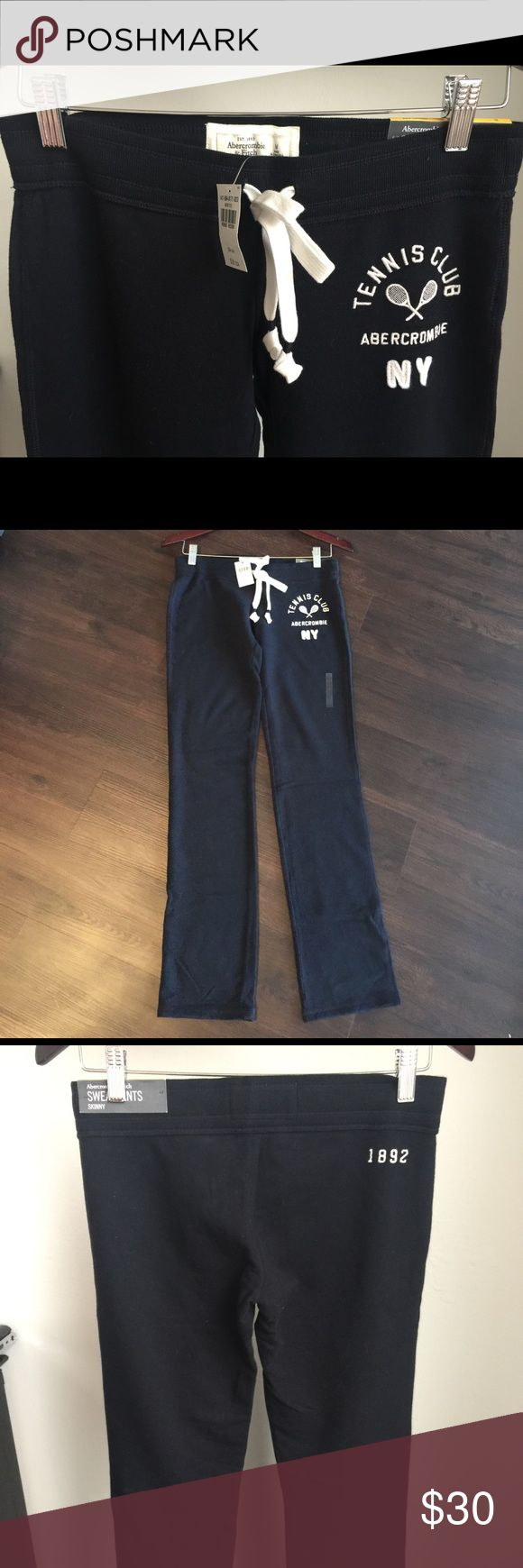 Women's Navy Abercrombie and Fitch Sweatpants Never worn. With tags. Navy, skinny fit. I can live in their sweats, they are so soft and cozy!! Abercrombie & Fitch Pants Track Pants & Joggers