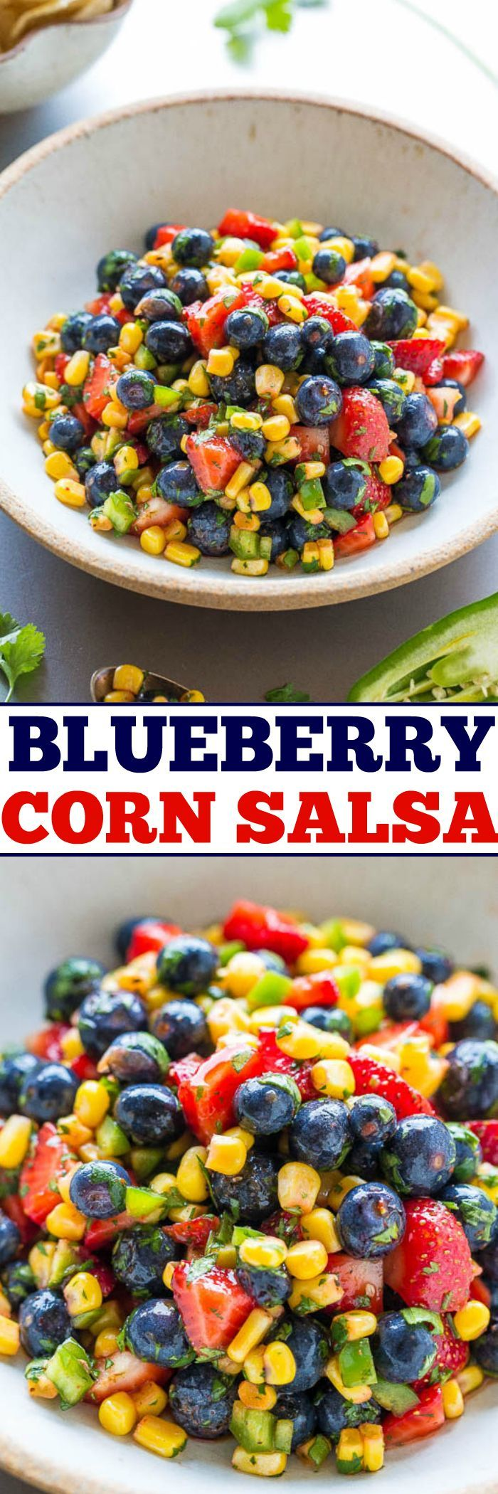 Blueberry Corn Salsa - Berries, corn, jalapeno, cilantro, and more in this EASY and healthy salsa that's ready in 5 minutes!! So good you can eat it on it's own like a salad! The sweet fruit balances the heat and it's a guaranteed HIT!!