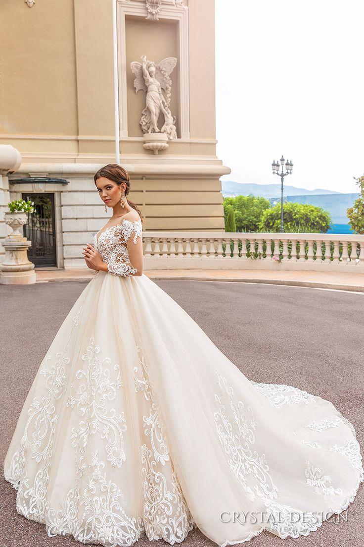 crystal design 2017 bridal long sleeves off the shoulder deep sweetheart neckline heavily embellished bodice elegant princess a line wedding dress keyhole back royal train (ellery) sdv