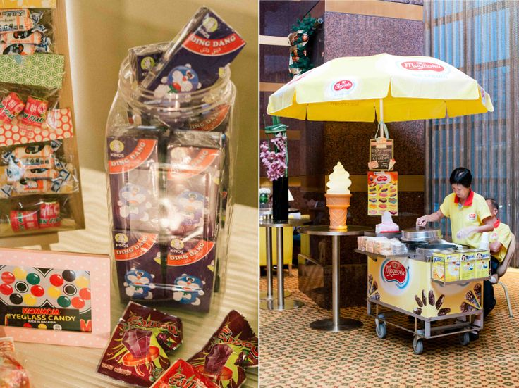 our old school ice cream cart and candy table