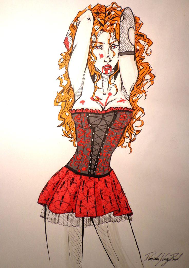 Ilustración de una vampira malvada comehombres. Vampire illustration draw. Promarker