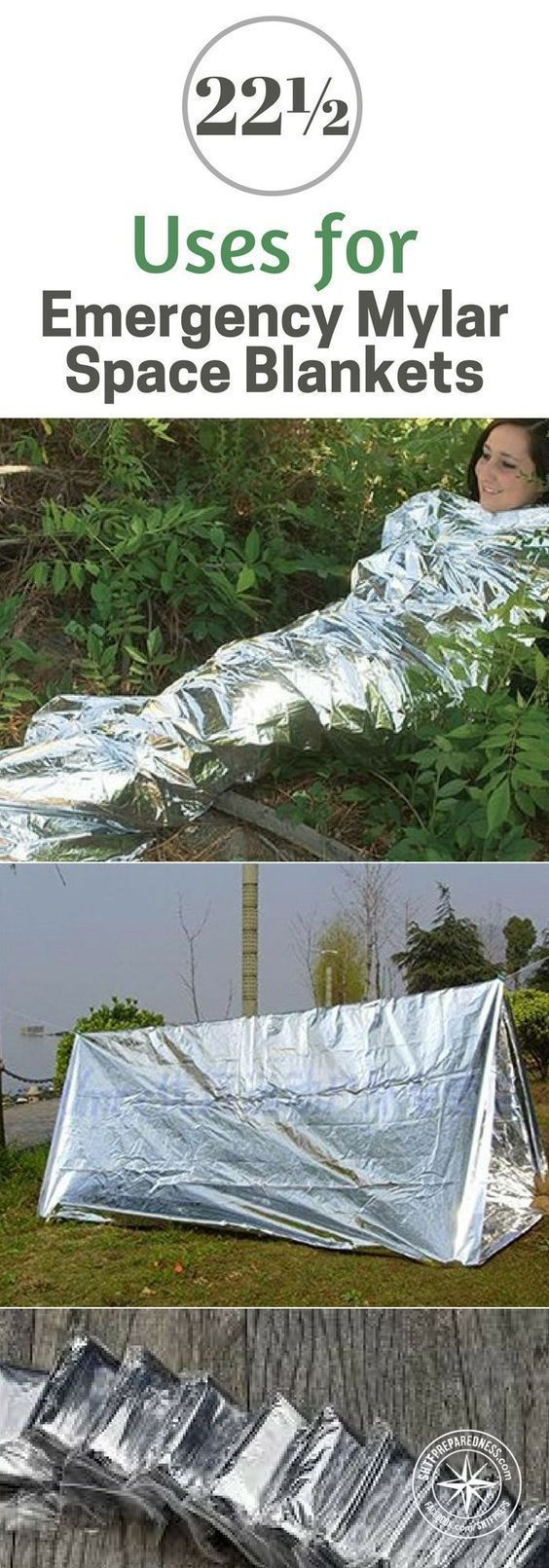 22½ Amazing Uses for Emergency Mylar Space Blankets - We all have a Mylar blanket in our kit somewhere. See 22½ alternative uses for mylar blankets. Can you add any uses to the list? #lifehacks #preparedness #emergencyuses