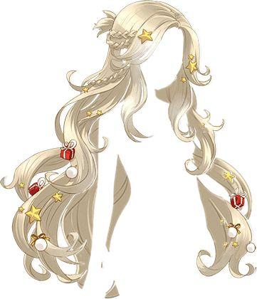 anime long cream coler hair  ผมยาวส้วยสวยมีของขวัญกับดาวน่ารักประดับผมเหมาะกับชุดซานตี้มั้กกกก