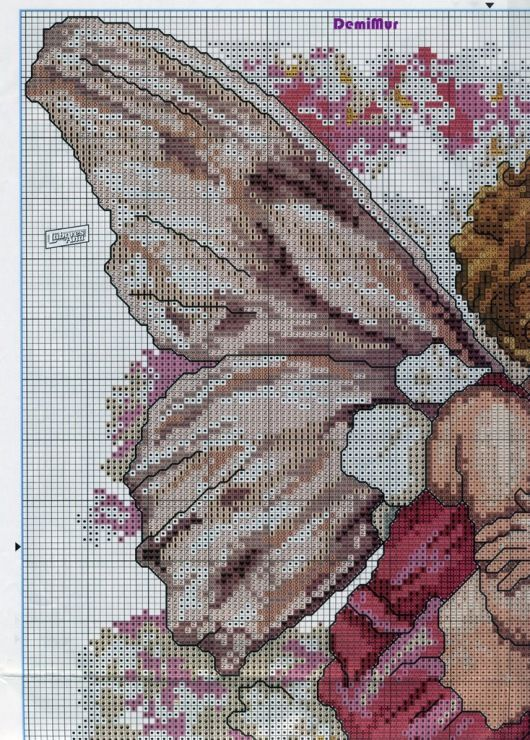 Cross stitch - fairies: Candytuft fairy - Cicely Mary Barker - close-up segment (chart - part A1)