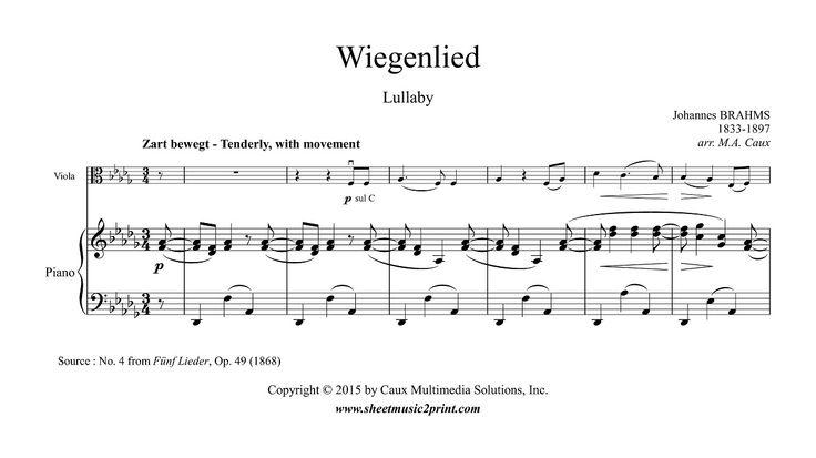 Brahms : Wiegenlied, Op. 49, No. 4 - Lullaby - Viola www.sheetmusic2print.com/Brahms/Wiegenlied-49-4.aspx