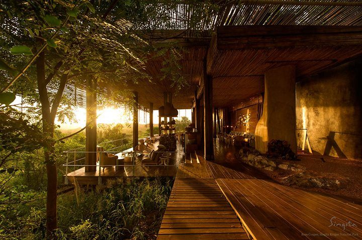 Singita Lebombo Lodge, soaked in the golden rays of the rising sun.  (Ross Couper, Singita Field Guide)