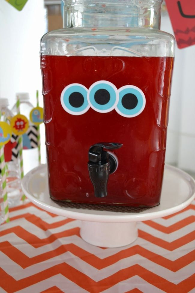 Monster Themed Boys Birthday Party Drink Ideas