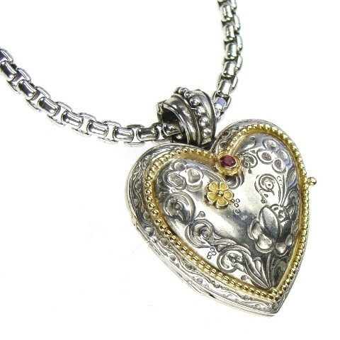 Gold 18k, sterling silver and ruby. Locket collection