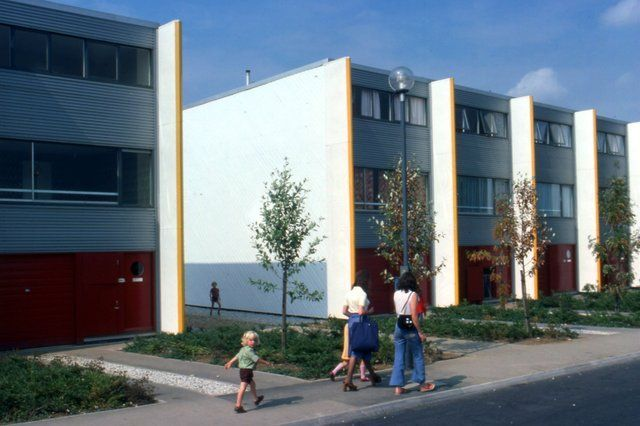 Street scene in the new town estate of Netherfield, Milton Keynes, 1970s