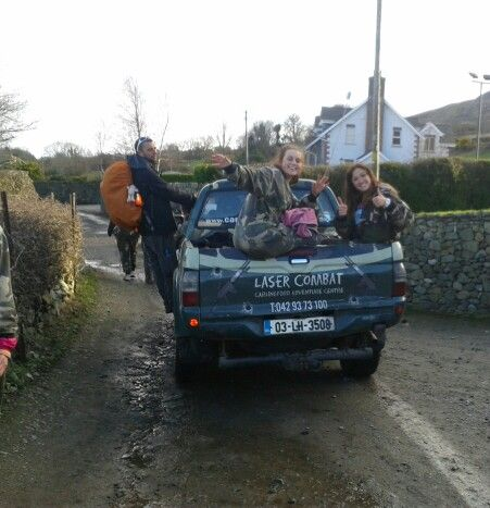 Aoife and Elaine hitching a lift after lazer combat @Brian McDermott