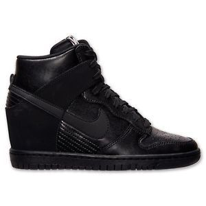 Women's Nike Dunk Sky High Leather Wedge Sneakers 528899-010