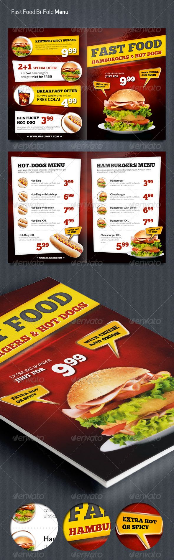 Fast Food Menu Flyer Template #design Download: http://graphicriver.net/item/fast-food-menu-flyer/7309491?ref=ksioks