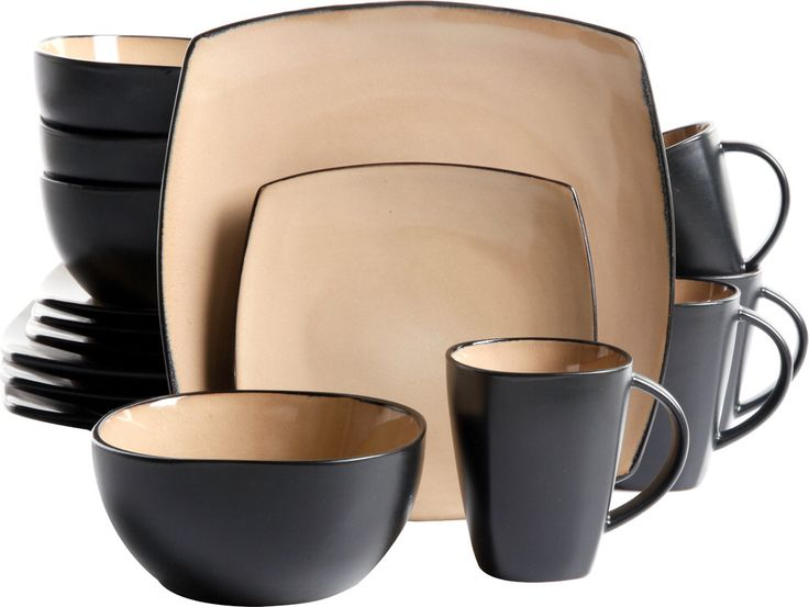Features:  -Set includes 4 dinner plates, 4 dessert plates, 4  bowls and 4 mugs.  -Dishwasher and microwave safe.  -Textured finish.  Style: -Modern/Contemporary.  Material: -Stoneware.  Number of Ite