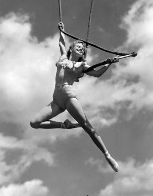 Ringling Circus trapeze artist Elly Ardelty in Sarasota, Florida, 1948. S)
