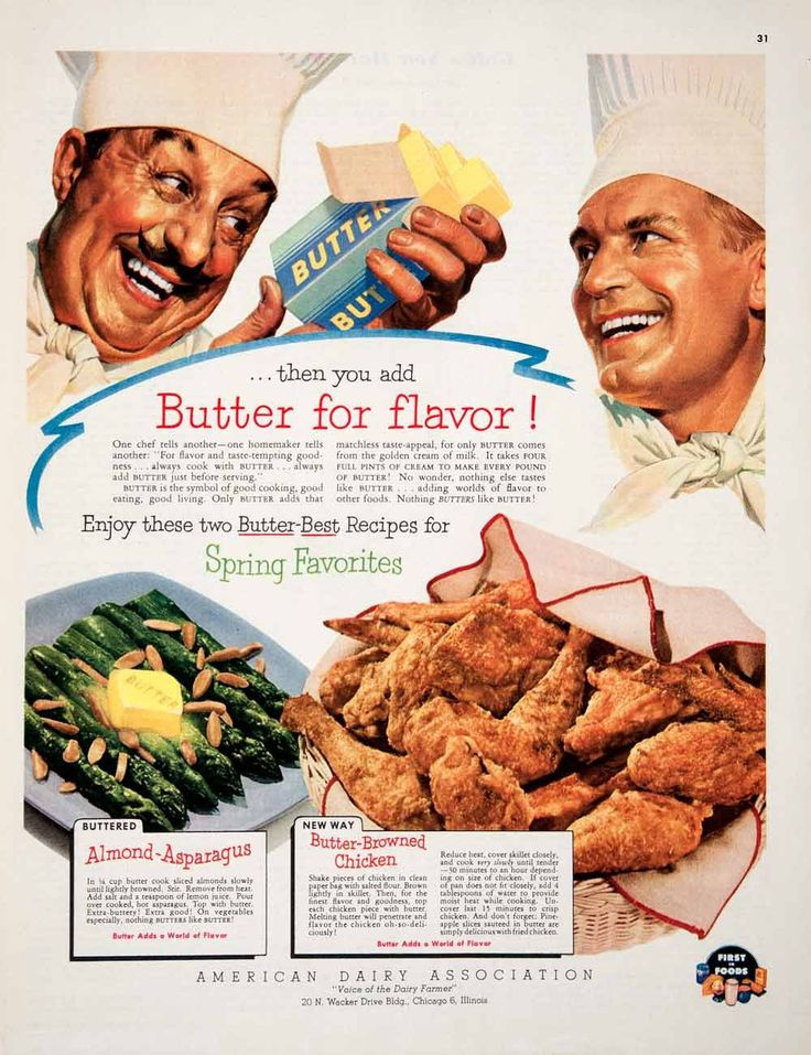 1952 ad american dairy association butter almond asparagus