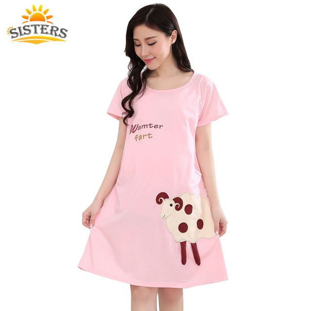 【 $9.99 & Free Shipping 】Cotton Cartoon Maternity Dress Sleepwear Pregnant Women Pajamas Nursing Breast Feeding Nightgown Clothes short Sleeve | Buying & Reviews on AliExpress