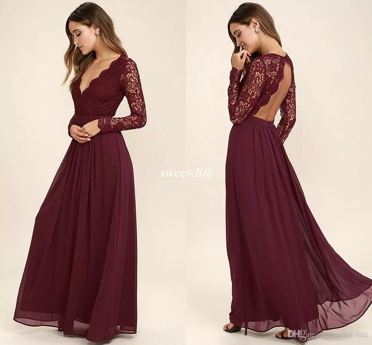 2017 Burgundy Chiffon Bridesmaid Dresses Long Sleeves Western Country Style V-Neck Backless Long Beach Lace Top Wedding Party Dresses Cheap Bridesmaid Dresses Cheap Evening Dresses Online with $95.0/Piece on Sweet-life's Store   DHgate.com