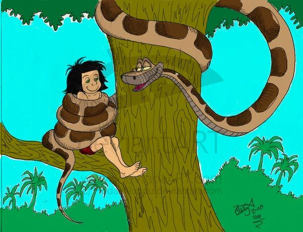 Kaa and Mowgli colored by pasta79 on DeviantArt | All Done