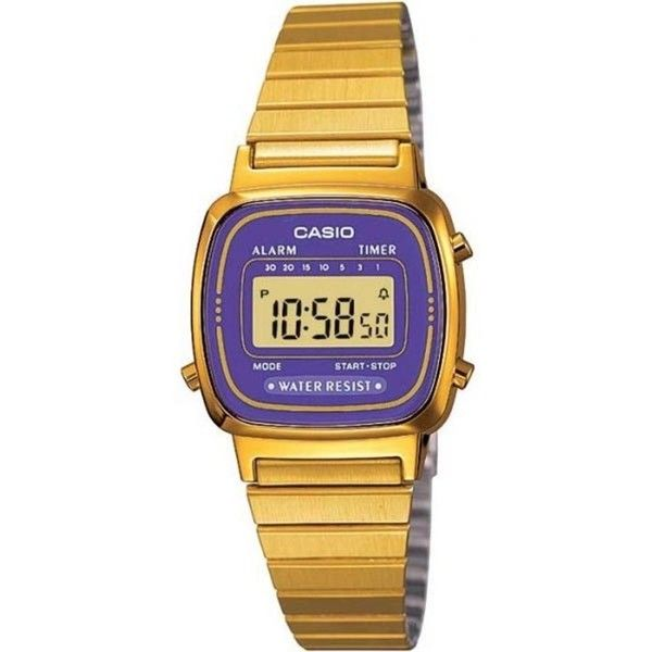 Casio Women's Core LA670WGA-6 Gold Stainless-Steel Quartz Watch ($30) ❤ liked on Polyvore featuring jewelry, watches, purple, digital sport watches, dial watches, digital sports watches, digital sport watch and quartz watches