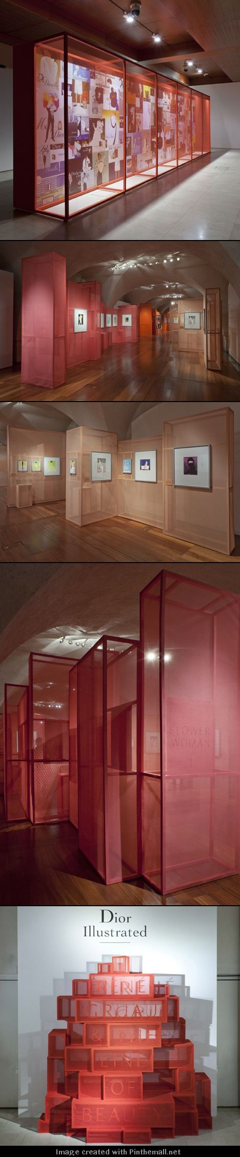 This exhibition designed by Gitta Gschwendtner for London's Somerset House displayed fashion drawings on gauze-covered boxes.