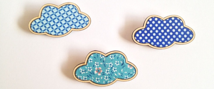 Kosbaar Brooches - Beach Timber cloud brooches, with vintagy style fabric inlays  Blue polkadot cloud Turquoise floral cloud Blue squares cloud