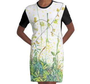 Watercolor wildflowers graphic T-Shirt dress by Alicja August