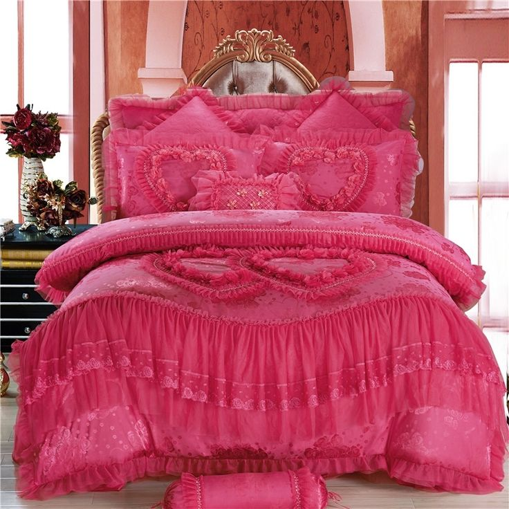Girls mexican pink victorian heart pattern princess style Mexican embroidered bedding