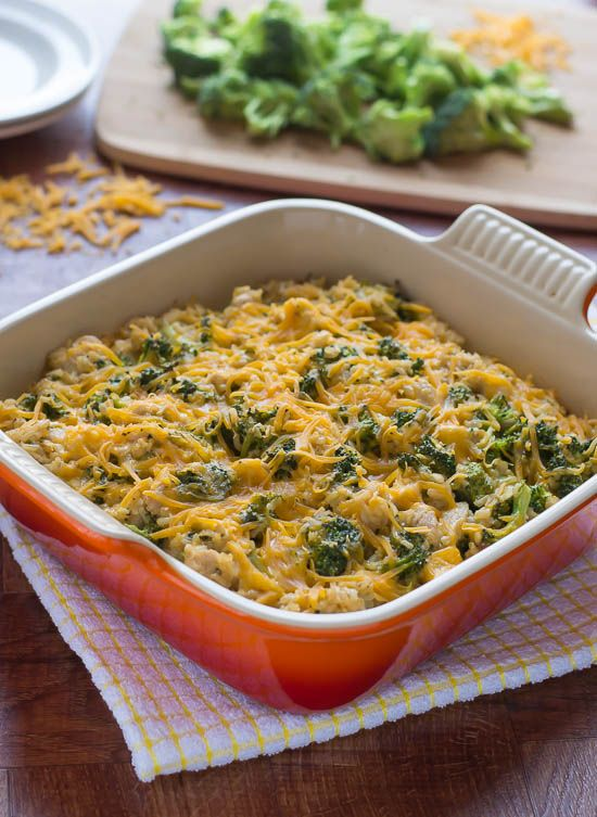 Cheesy Chicken Broccoli Rice Casserole. Easy, cheesy, and healthy too!