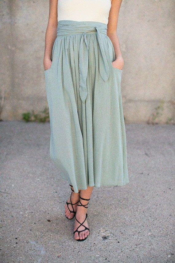 Sage Midi Skirt