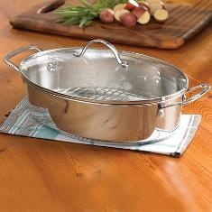 Princess Heritage® Stainless Steel   Classic 5-Qt. Oval Roaster w/Lid & Rack