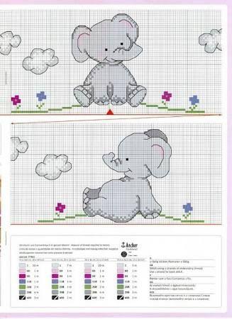 free baby elephant cross stitch pattern - Google Search