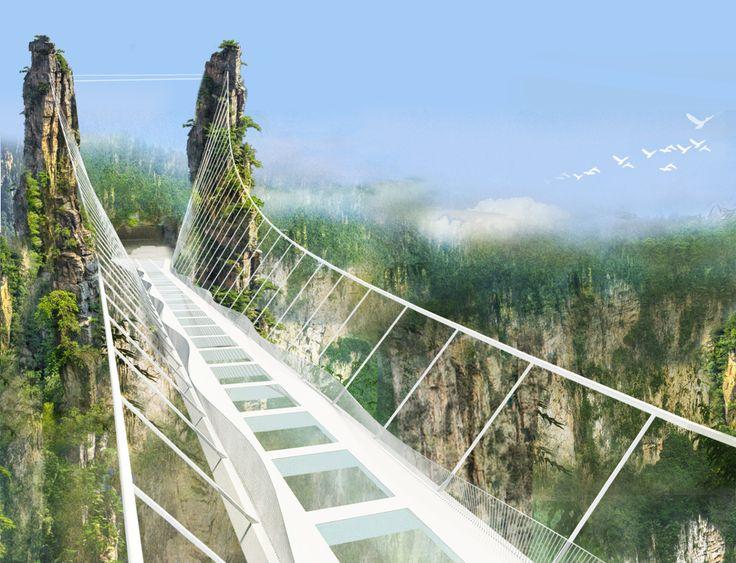Il più lungo e più alto ponte di vetro del mondo in un parco nazionale in Cina_Parco Nazionale Zhangjiajie in Cina