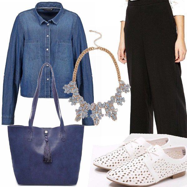 Tra le tendenze di questa primavera la gonna pantalone è il punto di partenza di questo outfit, abbinata a stringate bianche e camicia di jeans, la collana dà il giusto tocca di stile.insieme alla maxi borsa blu. Un look per tutti i giorni.