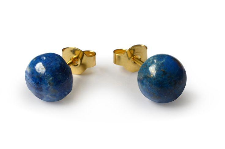 Lapis Lazuli Ohrstecker, rund, 925 Sterling Silber vergoldet