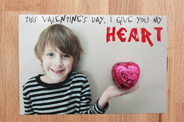 Valentine's Day card idea - take a photos of your child holding out her/his hand and then use PICMONKEY or other photo editing software to add in text.  Print photos and glue/tape a heart shaped chocolate to the photo.