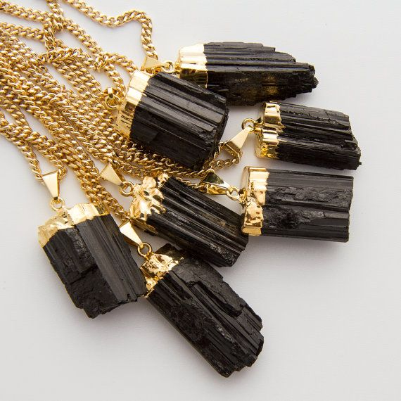 Black Tourmaline Pendant Necklace, Raw Crystal Necklace