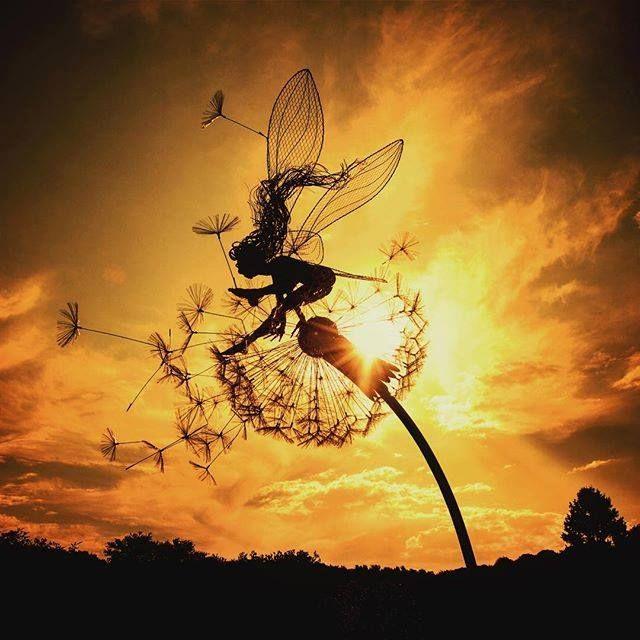 Robin Wight wire fairy scupture