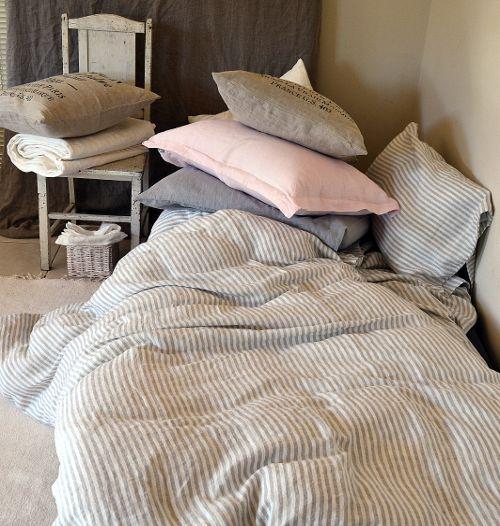 House of Baltic Linen - Grey and White Striped linen duvet cover, $269.00 (http://www.houseofbalticlinen.com/grey-and-white-striped-linen-duvet-cover/)