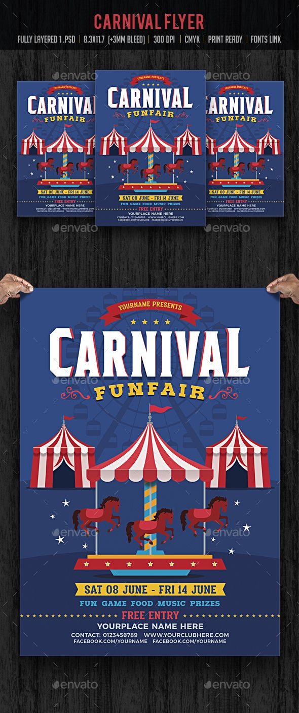 Carnival Flyer — Photoshop PSD #poster #summer camp • Download ➝ https://graphicriver.net/item/carnival-flyer/19823182?ref=pxcr