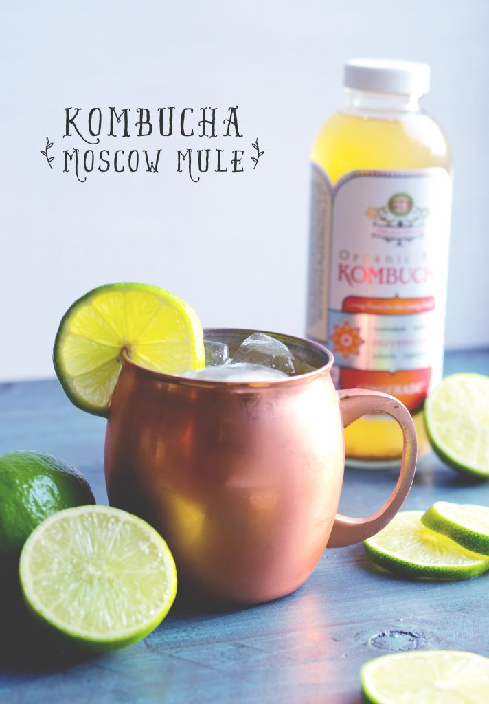 Enjoy this Kombucha Moscow Mule which has just a fraction of the sugar of the original cocktail