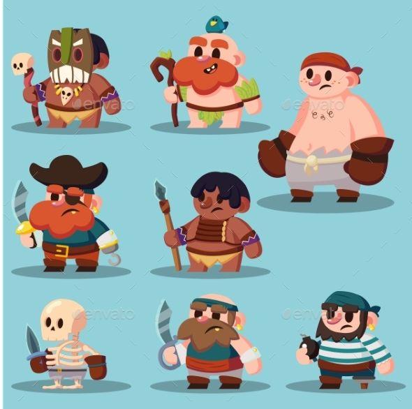 Cartoon Aborigine, Shaman Pirate #Game #Sprite - Miscellaneous Vectors Download here:  https://graphicriver.net/item/cartoon-aborigine-shaman-pirate-game-sprite/20081303?ref=alena994
