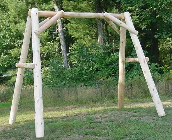 5u0027 Cedar Log Porch Swing Frame (Frame Only)   Rustic Indoor U0026 Outdoor