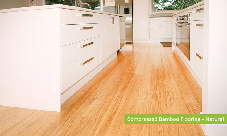 Plantation Bamboo Flooring Products New Zealand - Compressed bamboo flooring shown in natural colour-way installed in a kitchen