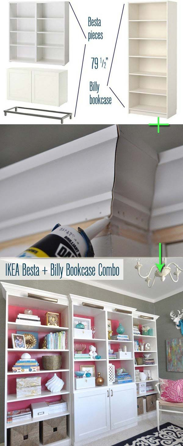 5. Transform IKEA besta and Billy bookcase combo into a wall unit that looks more expensive, by adding crown molding and lights to the top of it - Cheap Ways to Make IKEA Stuff from Plain to Expensive-Looking