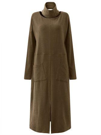 Only US$26.99 , shop Gracila Loose Solid Color Front Split Pocket Long Sleeve Women Maxi Dresses at Banggood.com. Buy fashion Casual Dresses online.