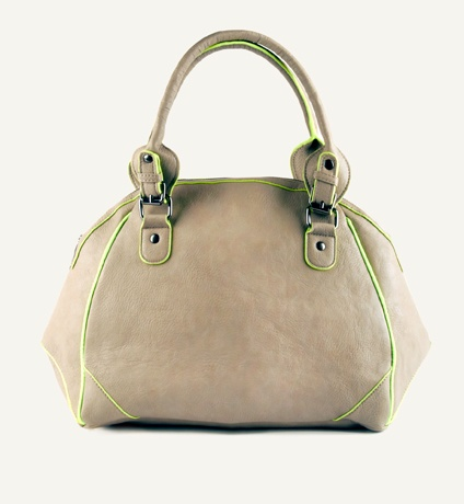 Contrast colour accents against a neutral base put a luxe sports spin on this dome shaped bag.