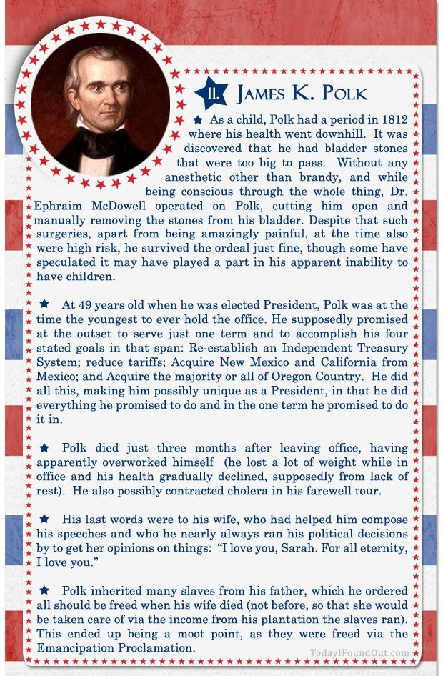 100+ Facts About US Presidents 11- James K Polk