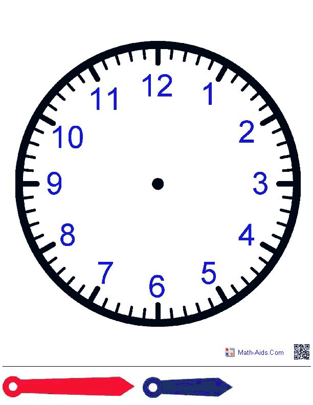 Clock Face with Hands Worksheets. Great to laminate and have students manipulate.